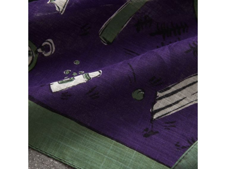 Picnic Print Cotton Scarf in Regency Purple | Burberry - cell image 1