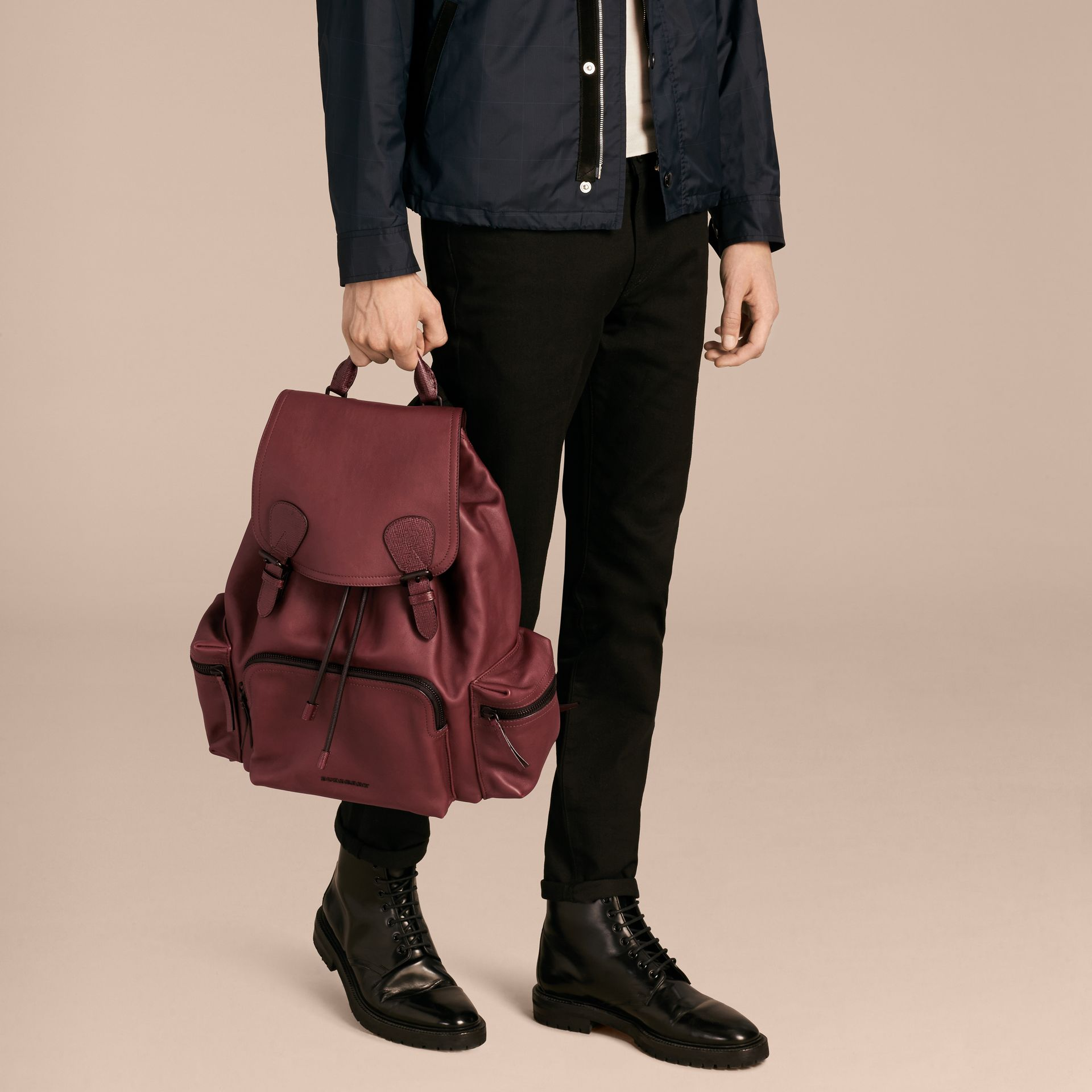 The Large Rucksack in Water-repellent Leather in Burgundy Red - gallery image 3