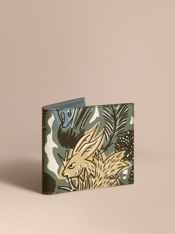 Beasts Print Leather Folding Wallet in Sage Green