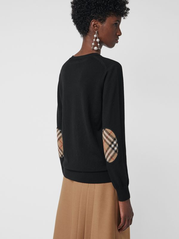 Vintage Check Detail Merino Wool Sweater in Black - Women | Burberry - cell image 2