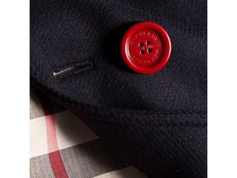 Resin Button Wool Cashmere Blend Pea Coat in Navy - Girl | Burberry - cell image 1