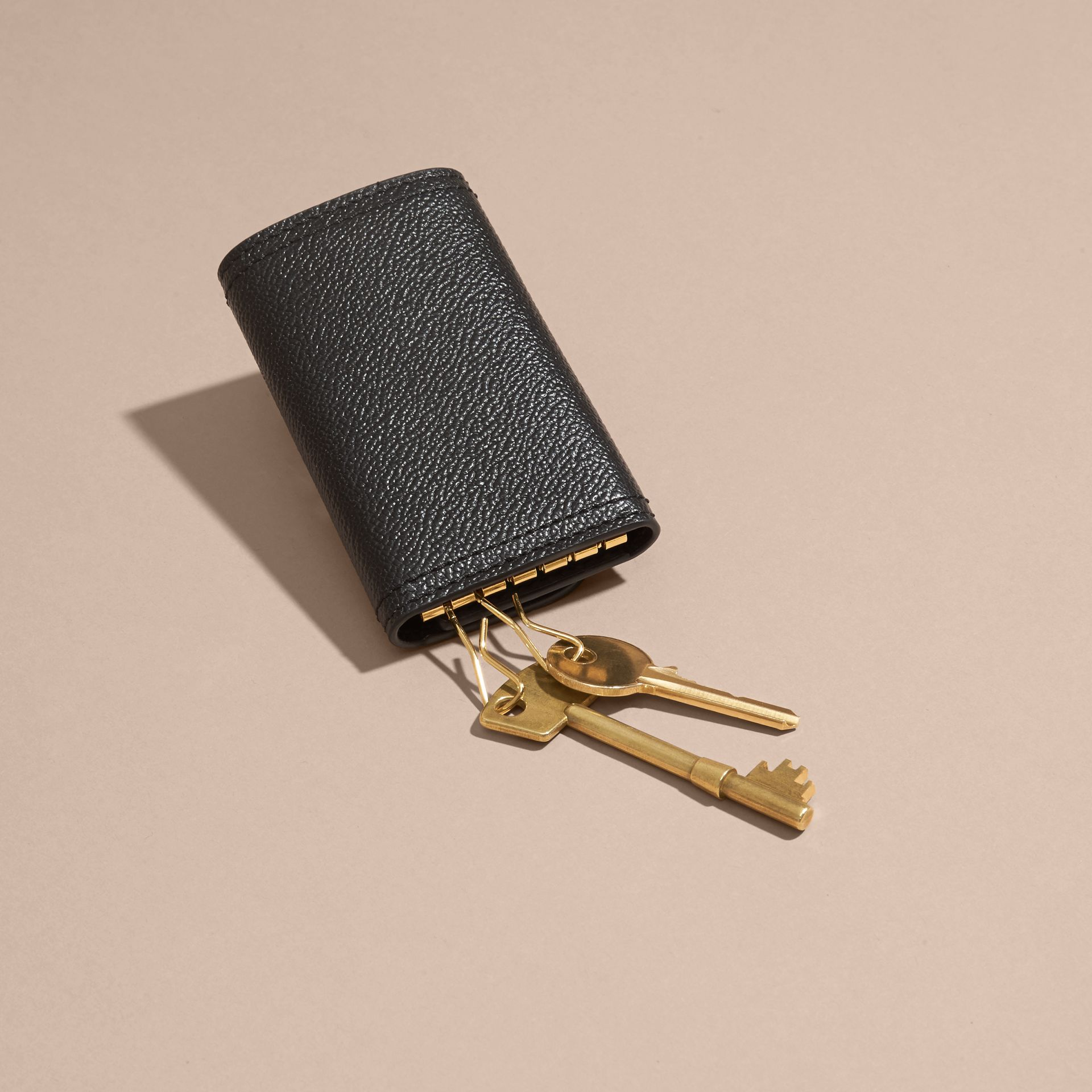 Grainy Leather Key Holder in Black - Women | Burberry - gallery image 4