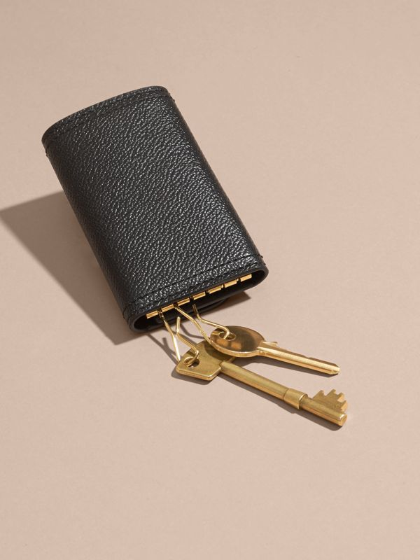Grainy Leather Key Holder in Black - Women | Burberry - cell image 3