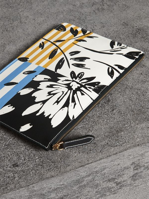 Large Floral Stripe Print Leather Zip Pouch in Patchwork | Burberry - cell image 3