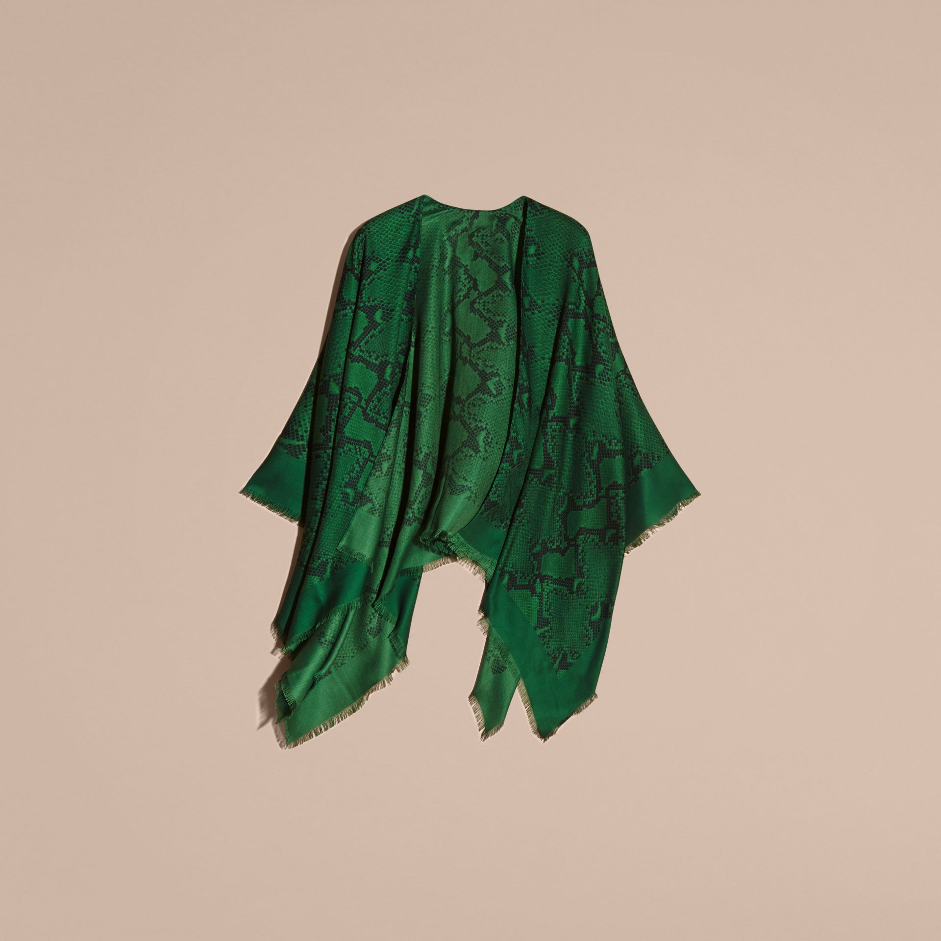 Bright green Lightweight Python Print Wool Cashmere Silk Poncho Bright Green - gallery image 4