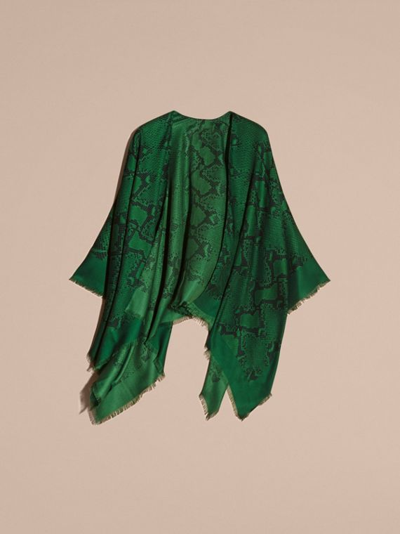 Bright green Lightweight Python Print Wool Cashmere Silk Poncho Bright Green - cell image 3