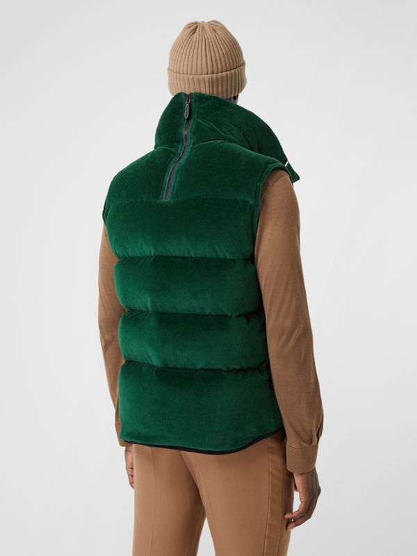 Satin Trim Chenille Puffer Gilet in Pine Green - Men | Burberry - cell image 3