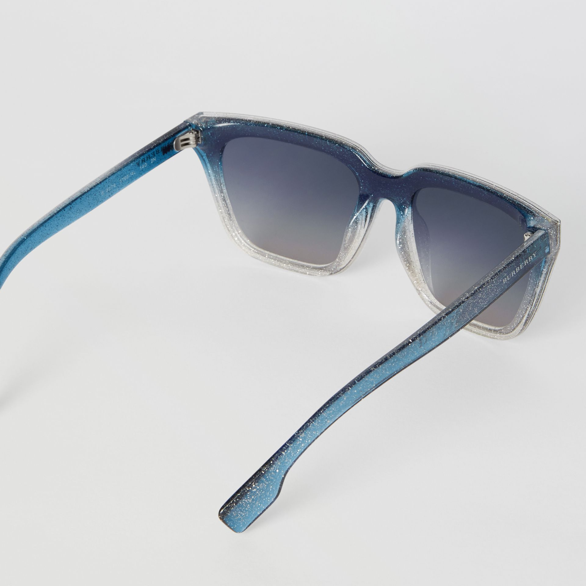 Glitter Detail Square Frame Shield Sunglasses in Blue - Women | Burberry - gallery image 4