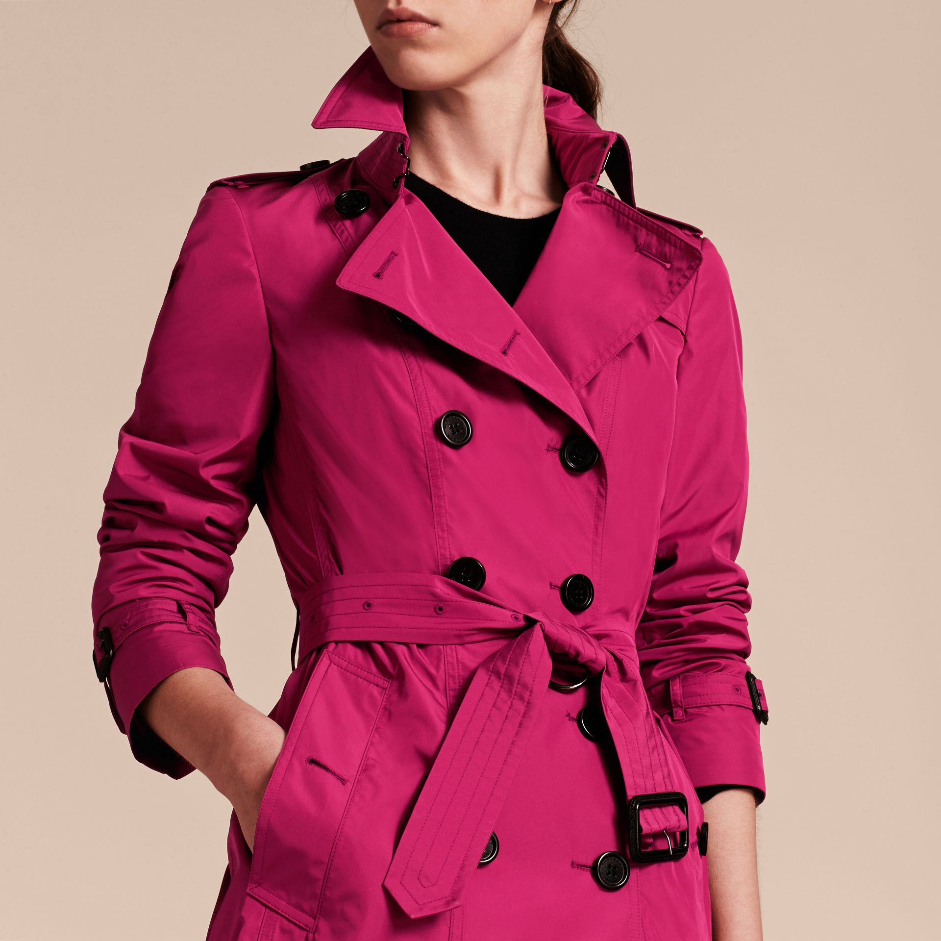 Mid-length Technical Trench Coat Damson Magenta - gallery image 5