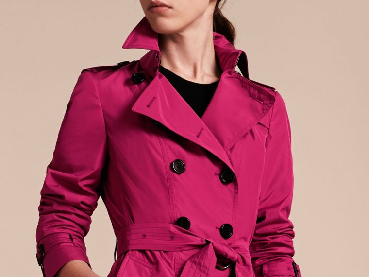 Mid-length Technical Trench Coat Damson Magenta - cell image 4