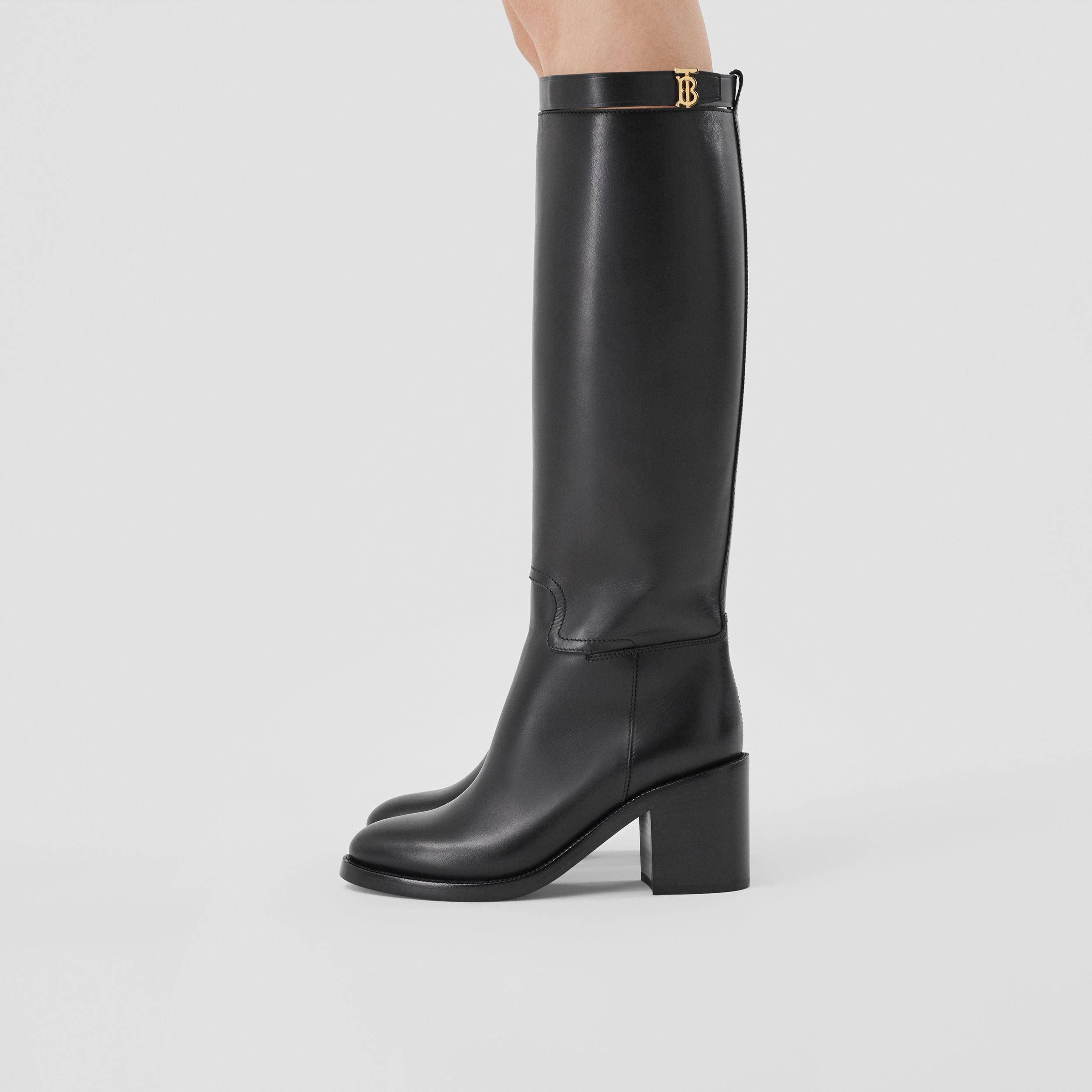 Monogram Motif Leather Knee-high Boots in Black - Women | Burberry - 3