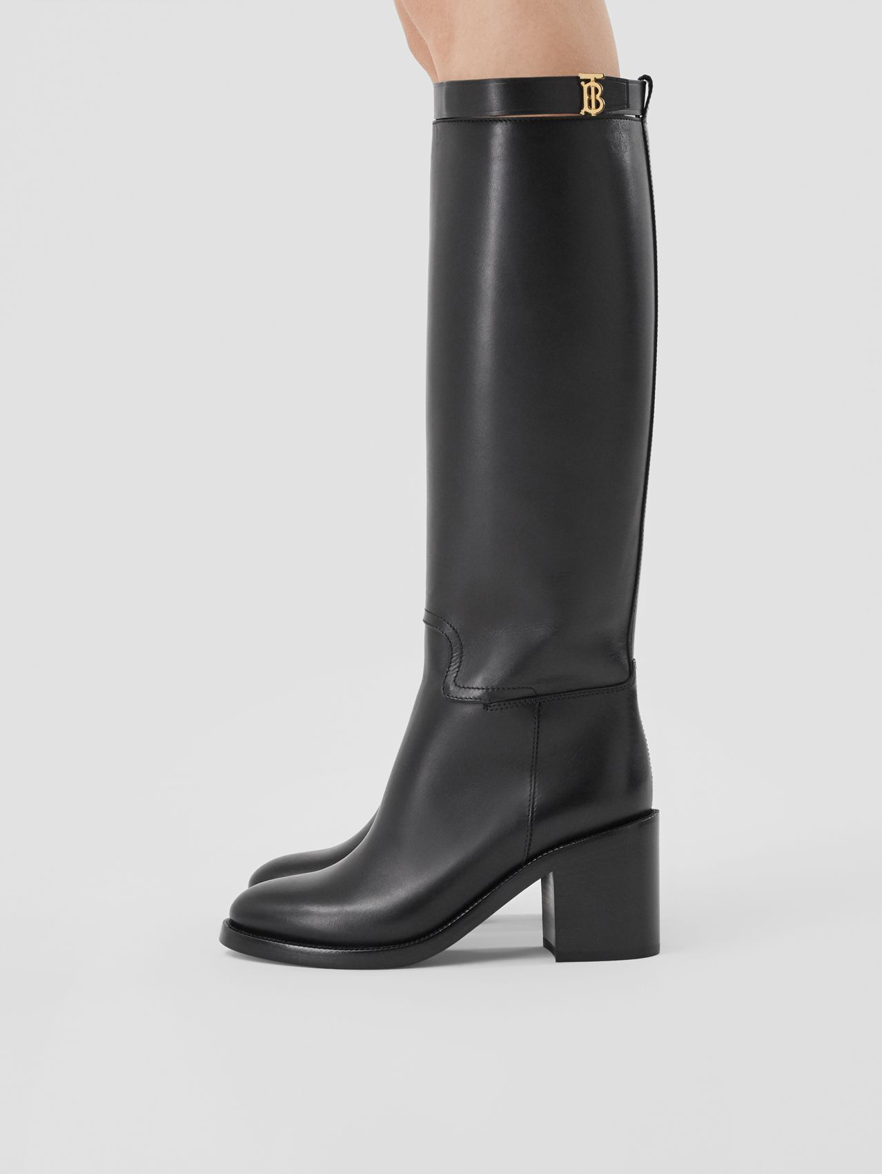 Monogram Motif Leather Knee-high Boots in Black