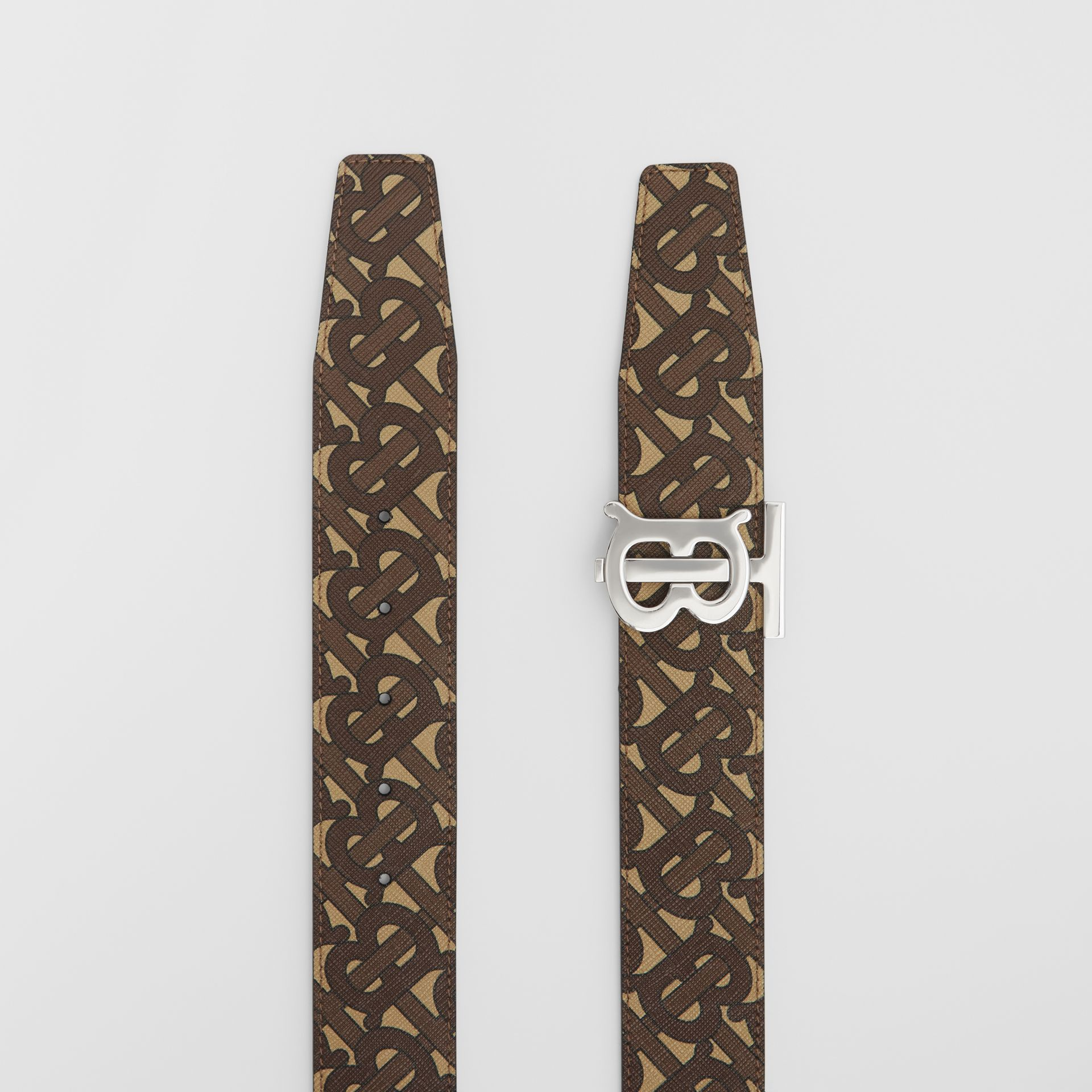 Reversible Monogram Print E-canvas and Leather Belt in Bridle Brown - Men | Burberry United Kingdom - gallery image 5