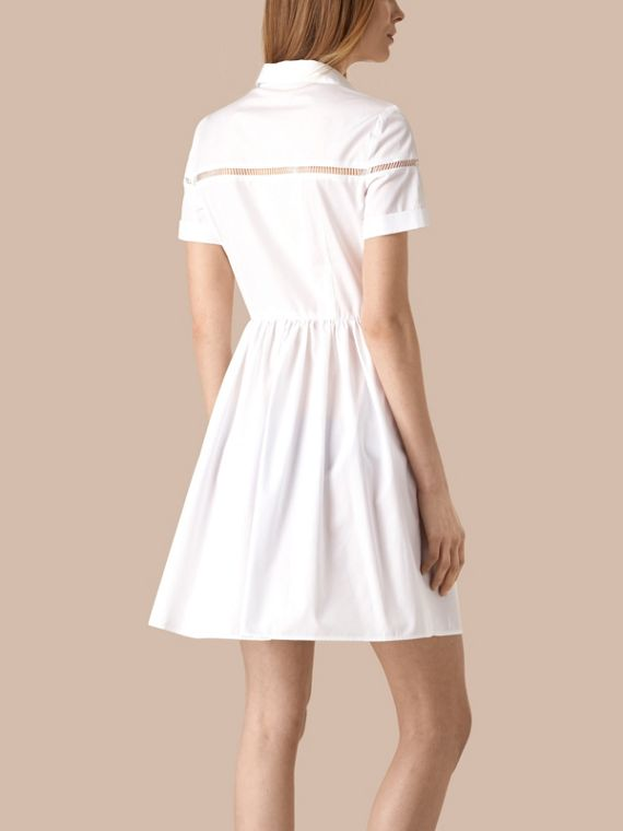 White Lace Detail Cotton Shirt Dress - cell image 2
