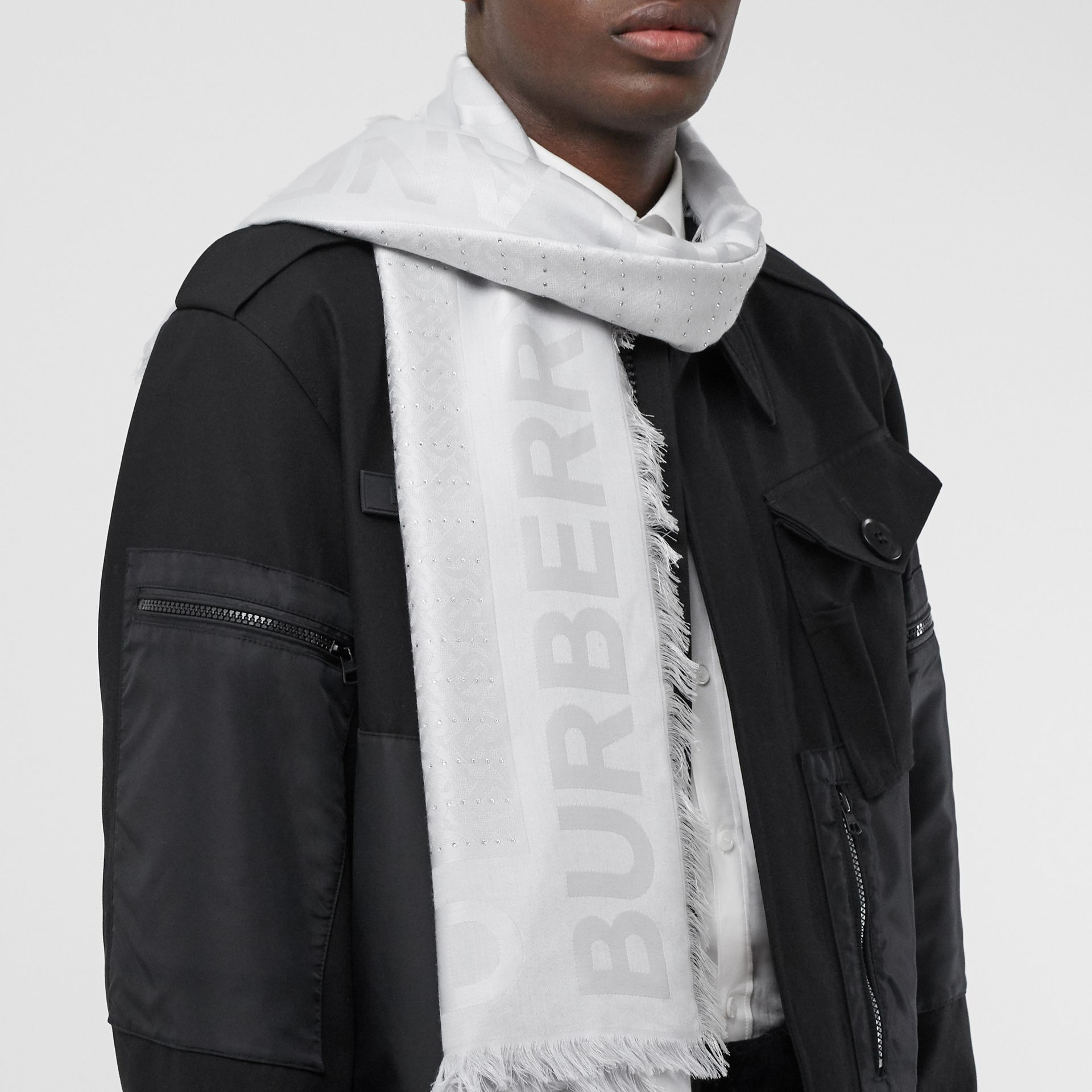 Crystal Pinstriped Silk Wool Large Square Scarf in Light Pebble Grey - Women | Burberry - gallery image 3