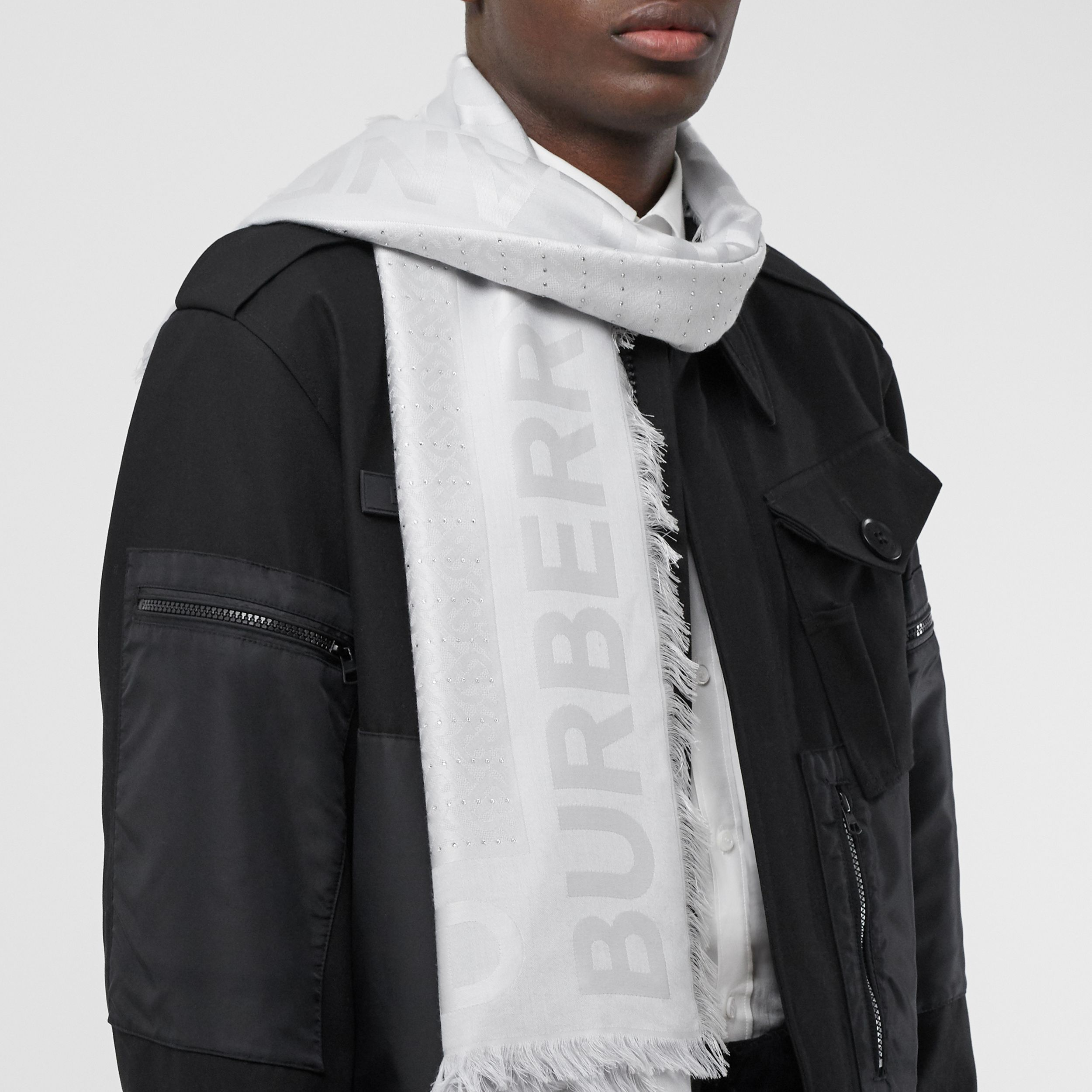 Crystal Pinstriped Silk Wool Large Square Scarf in Light Pebble Grey - Women | Burberry Australia - 4