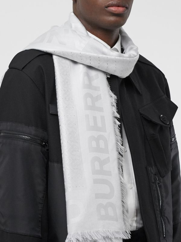 Crystal Pinstriped Silk Wool Large Square Scarf in Light Pebble Grey - Women | Burberry United Kingdom - cell image 3