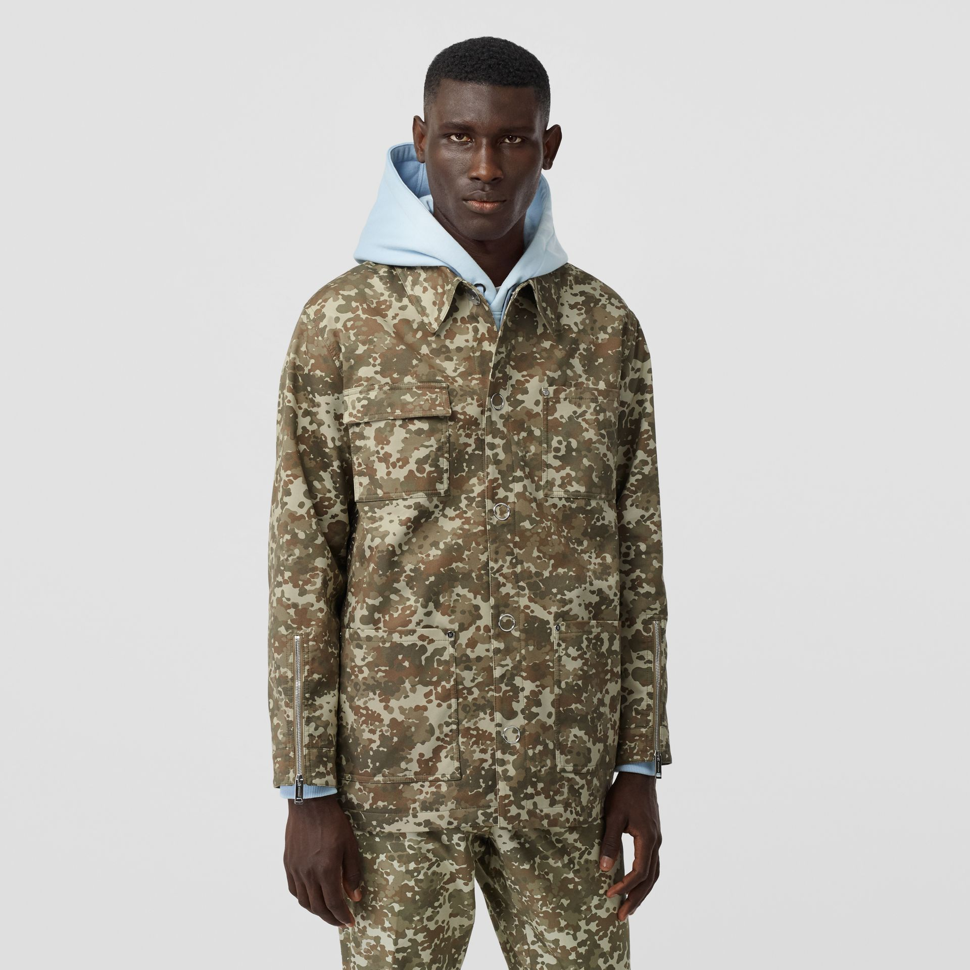 Camouflage Print Cotton Gabardine Field Jacket in Khaki Green - Men | Burberry - gallery image 6