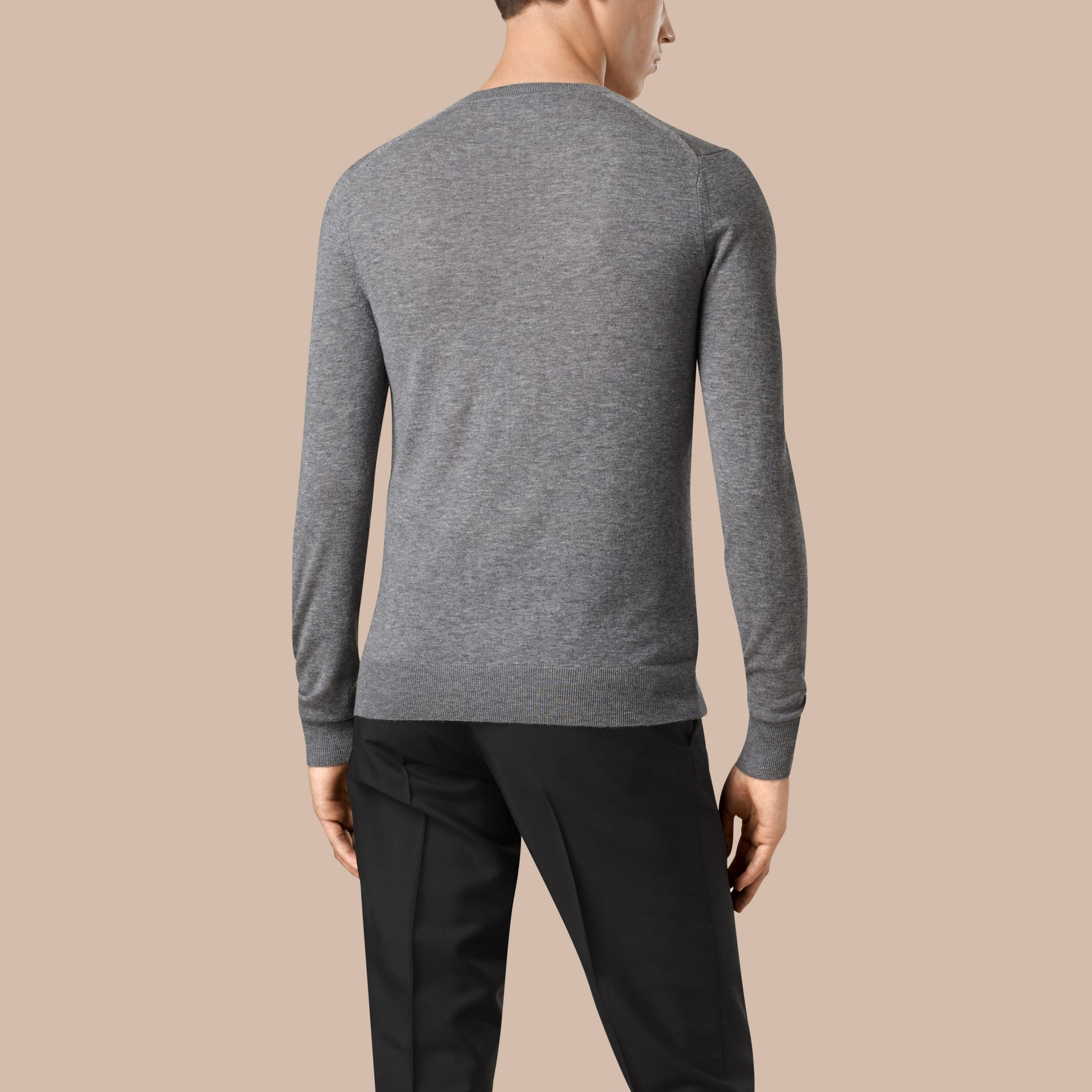 Mid grey melange Cashmere V-neck Sweater Mid Grey Melange - gallery image 3