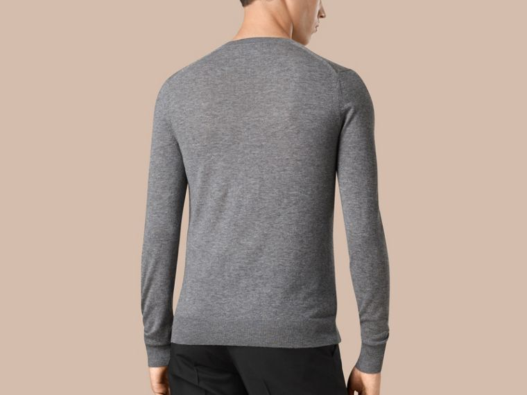Mid grey melange Cashmere V-neck Sweater Mid Grey Melange - cell image 2