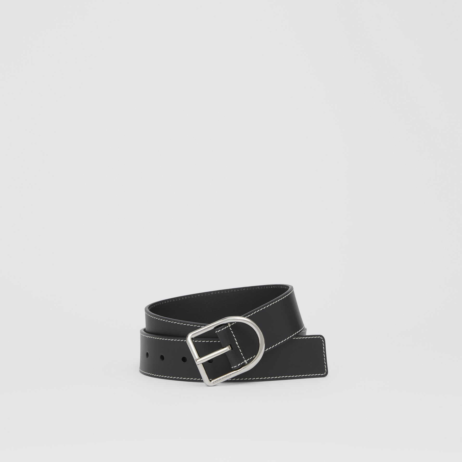 Topstitch Detail Leather Belt in Black - Men | Burberry - gallery image 0