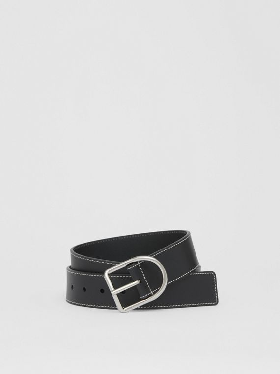 Topstitch Detail Leather Belt in Black