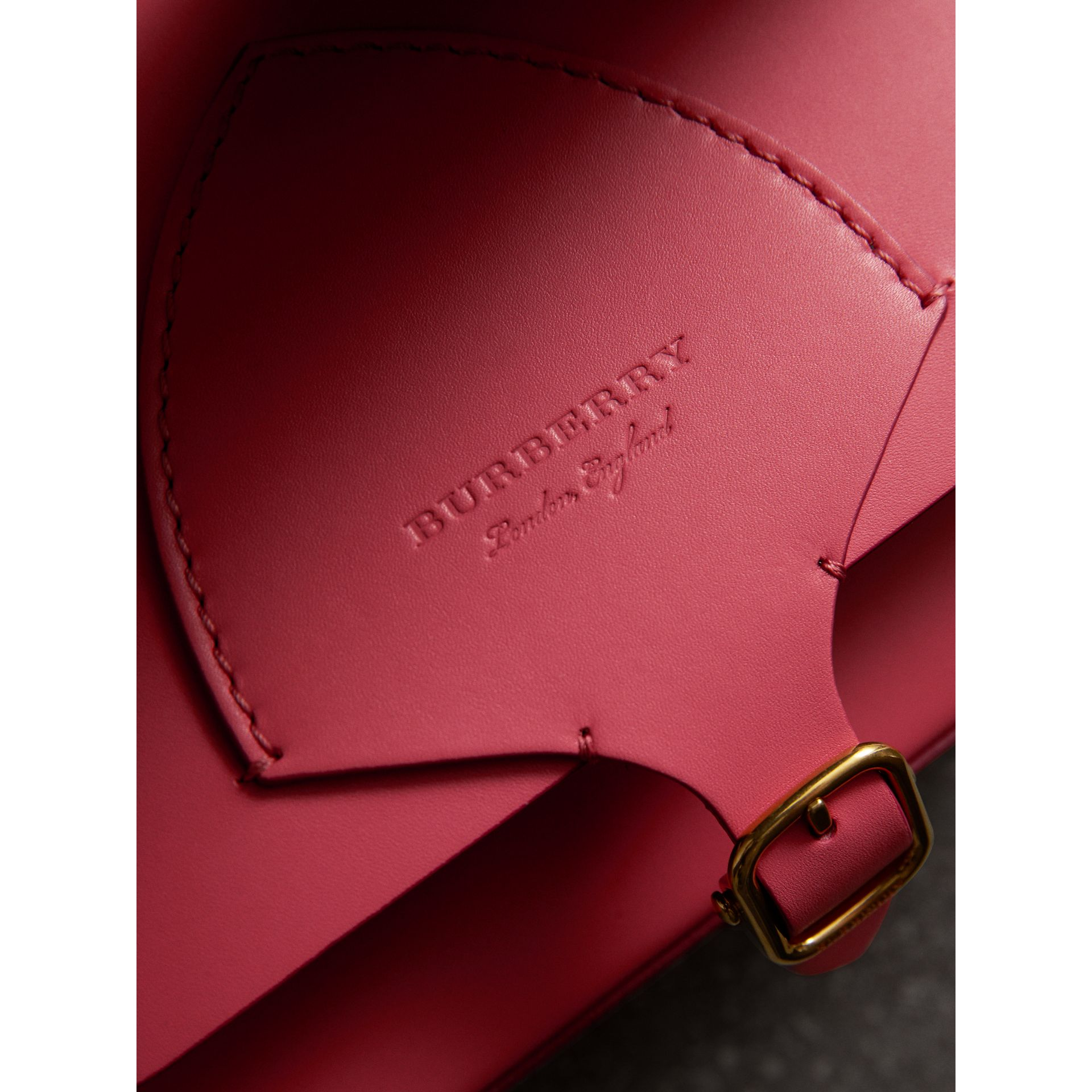 The Square Satchel in Leather in Bright Peony - Women | Burberry United Kingdom - gallery image 1