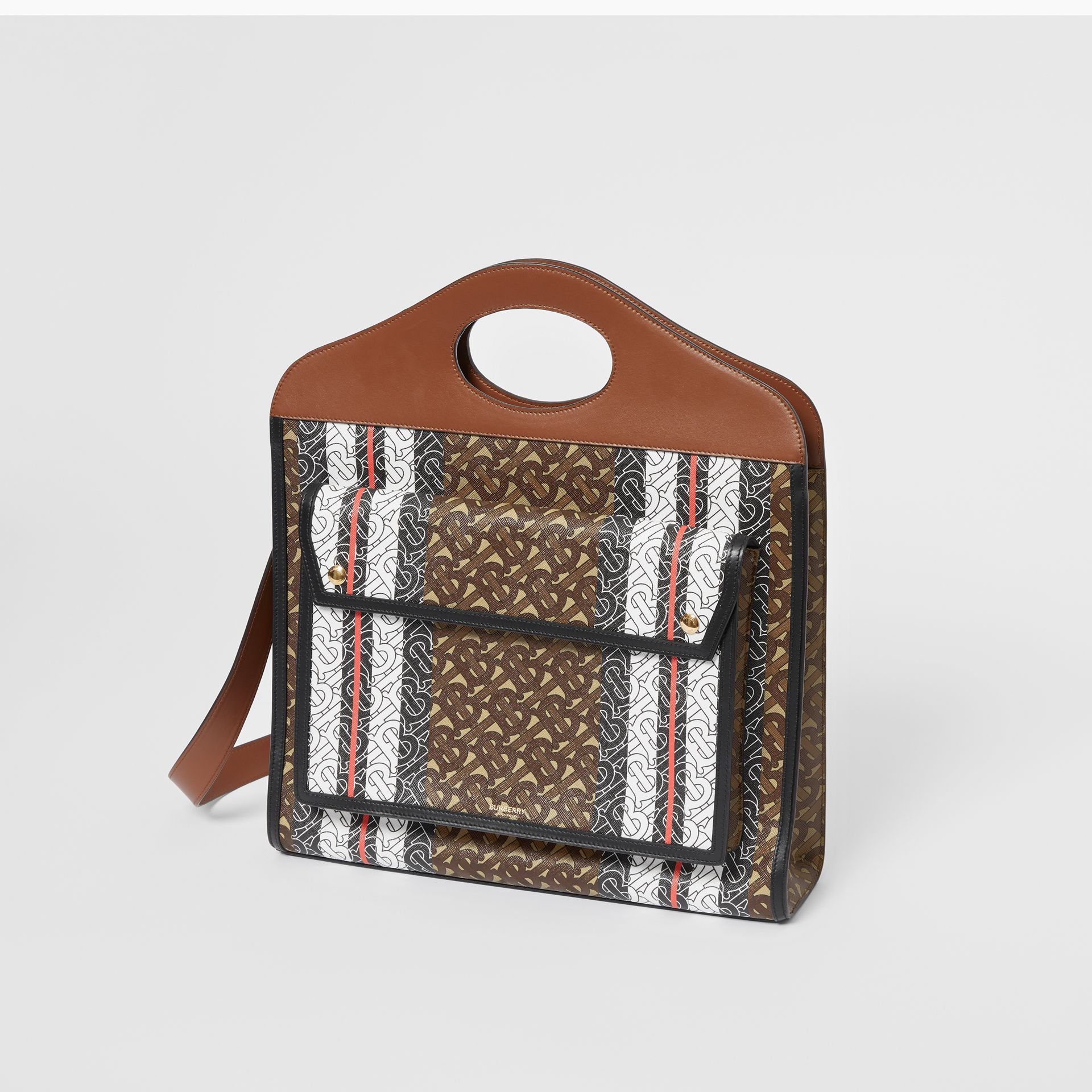 Medium Monogram Stripe E-canvas Pocket Bag in Bridle Brown - Women | Burberry - gallery image 3