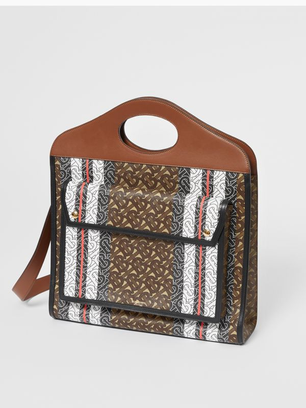 Medium Monogram Stripe E-canvas Pocket Bag in Bridle Brown - Women | Burberry - cell image 3