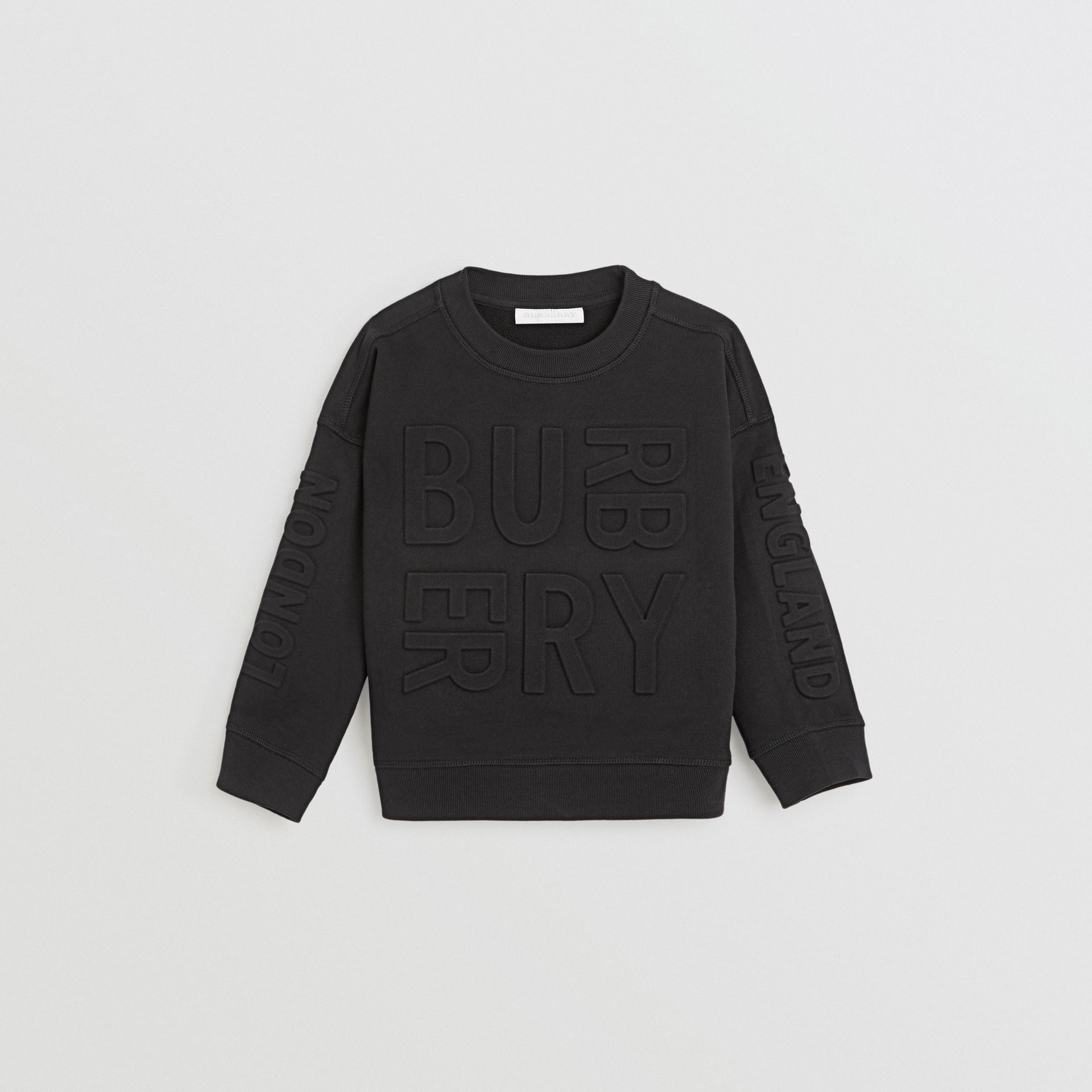 Embossed Logo Cotton Sweatshirt in Black | Burberry Canada - gallery image 0