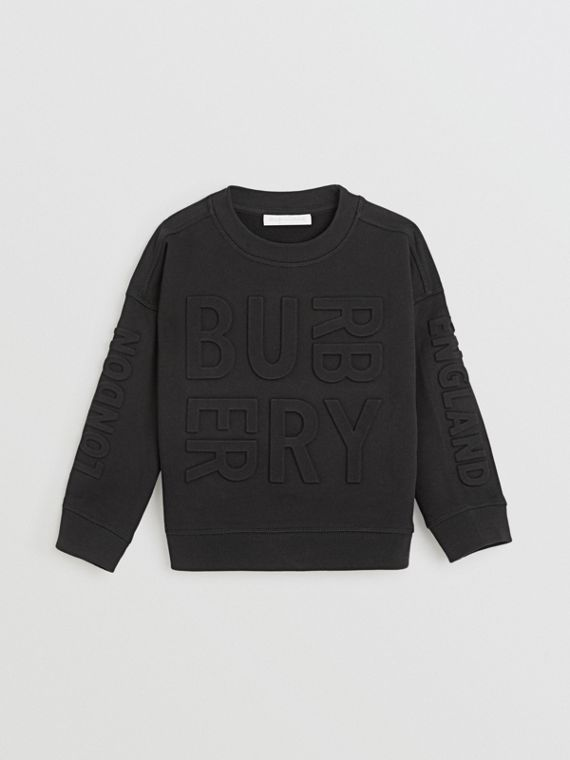 Embossed Logo Cotton Sweatshirt in Black