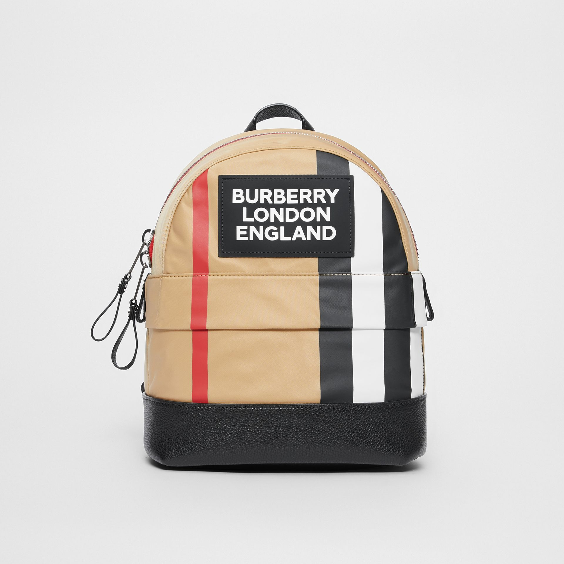 Logo Detail Icon Stripe Nylon Backpack in Archive Beige - Children | Burberry - gallery image 0