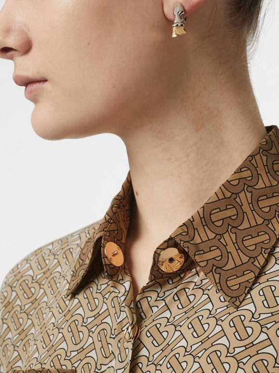 Two-tone Monogram Print Silk Shirt in Light Camel - Women | Burberry - cell image 1