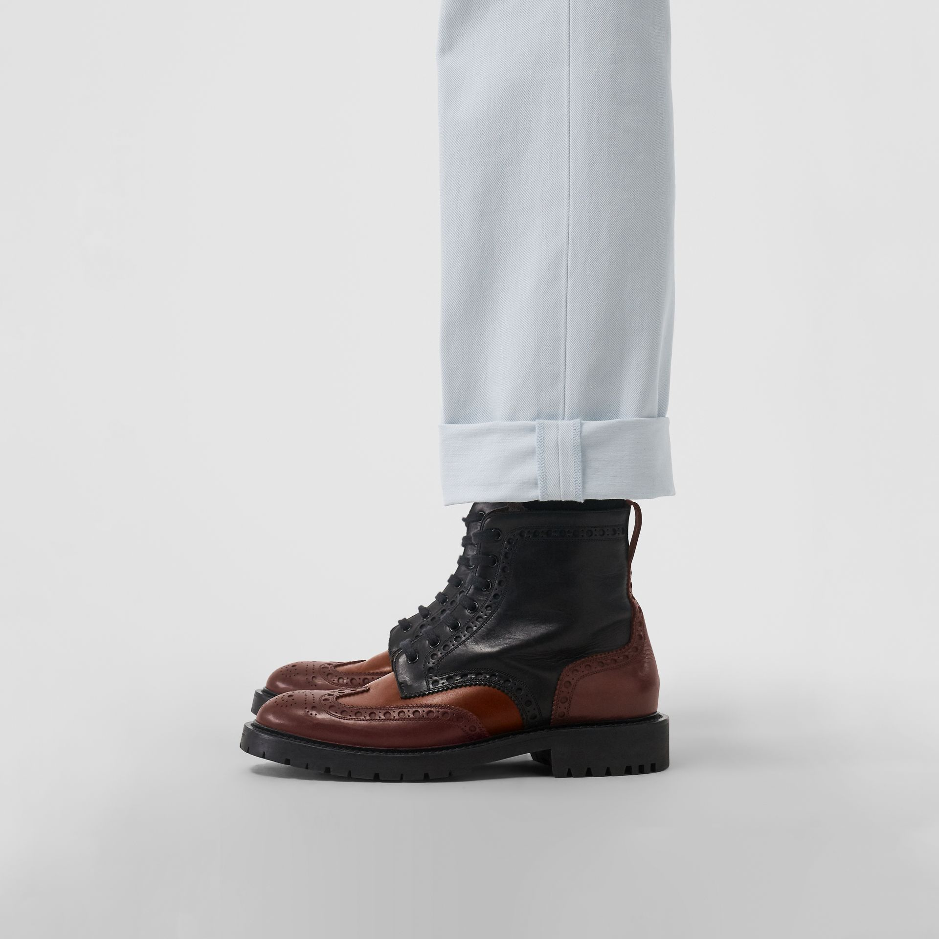 Brogue Detail Leather Boots in Black/garnet - Men | Burberry - gallery image 2