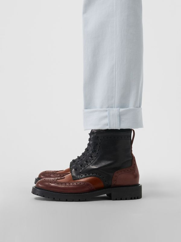 Brogue Detail Leather Boots in Black/garnet - Men | Burberry - cell image 2