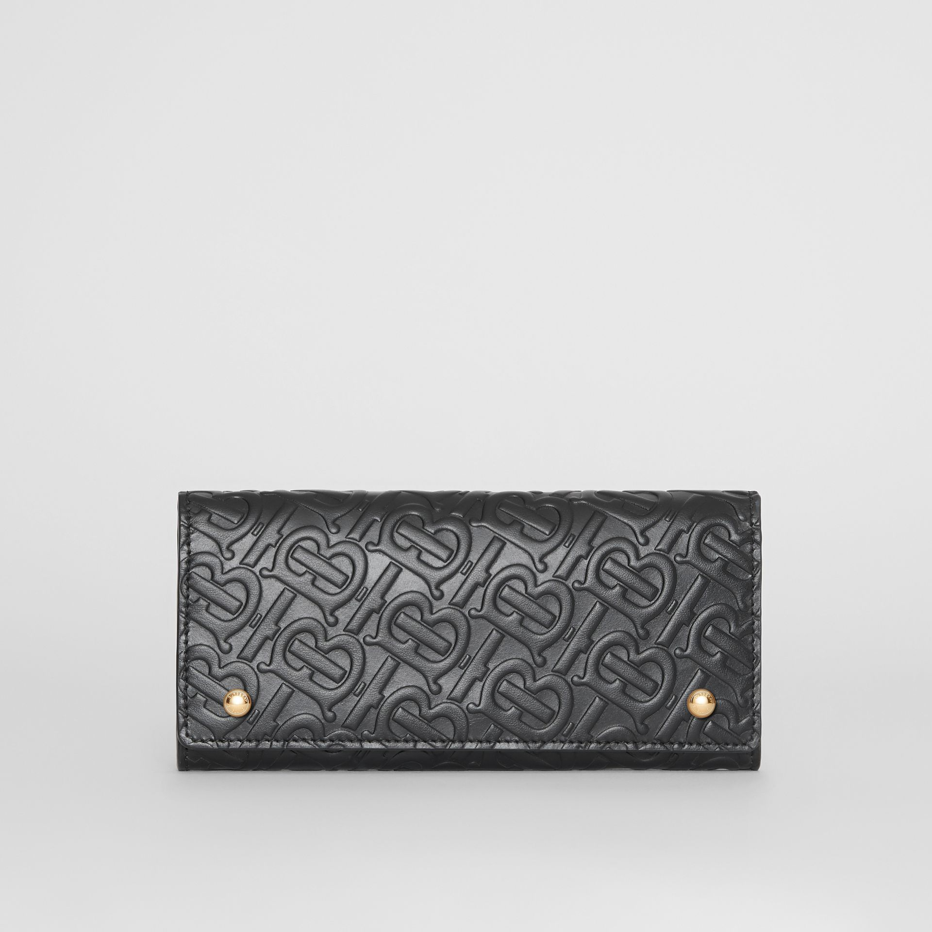 Monogram Leather Continental Wallet in Black - Women | Burberry - gallery image 0