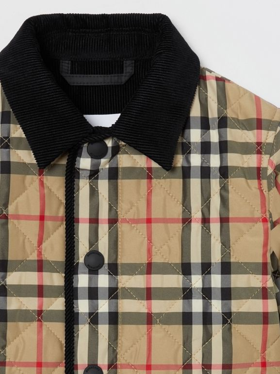 Corduroy Trim Vintage Check Diamond Quilted Jacket in Archive Beige - Children | Burberry - cell image 1