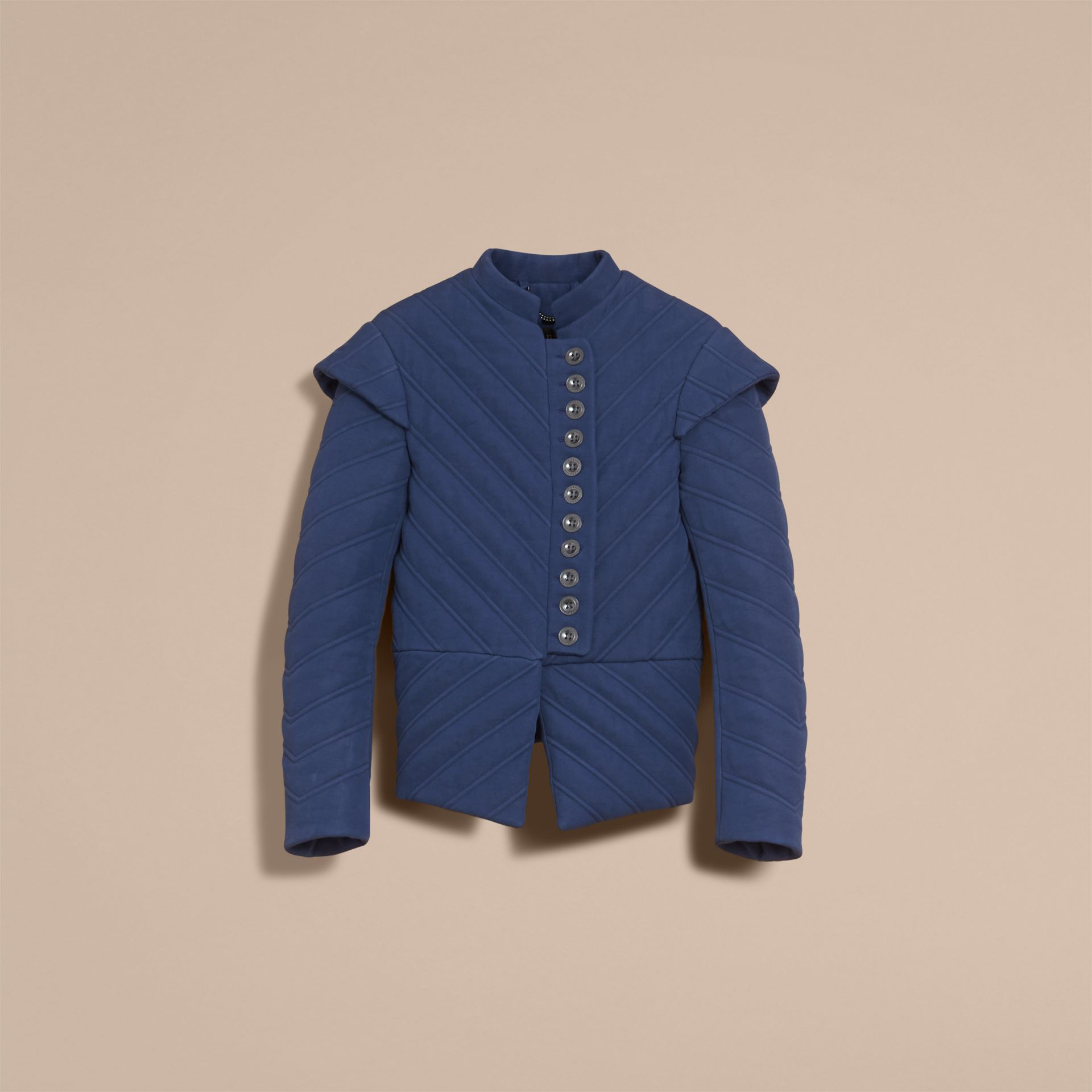 Quilted Ramie Cotton Military Jacket in Indigo - Women | Burberry - gallery image 4