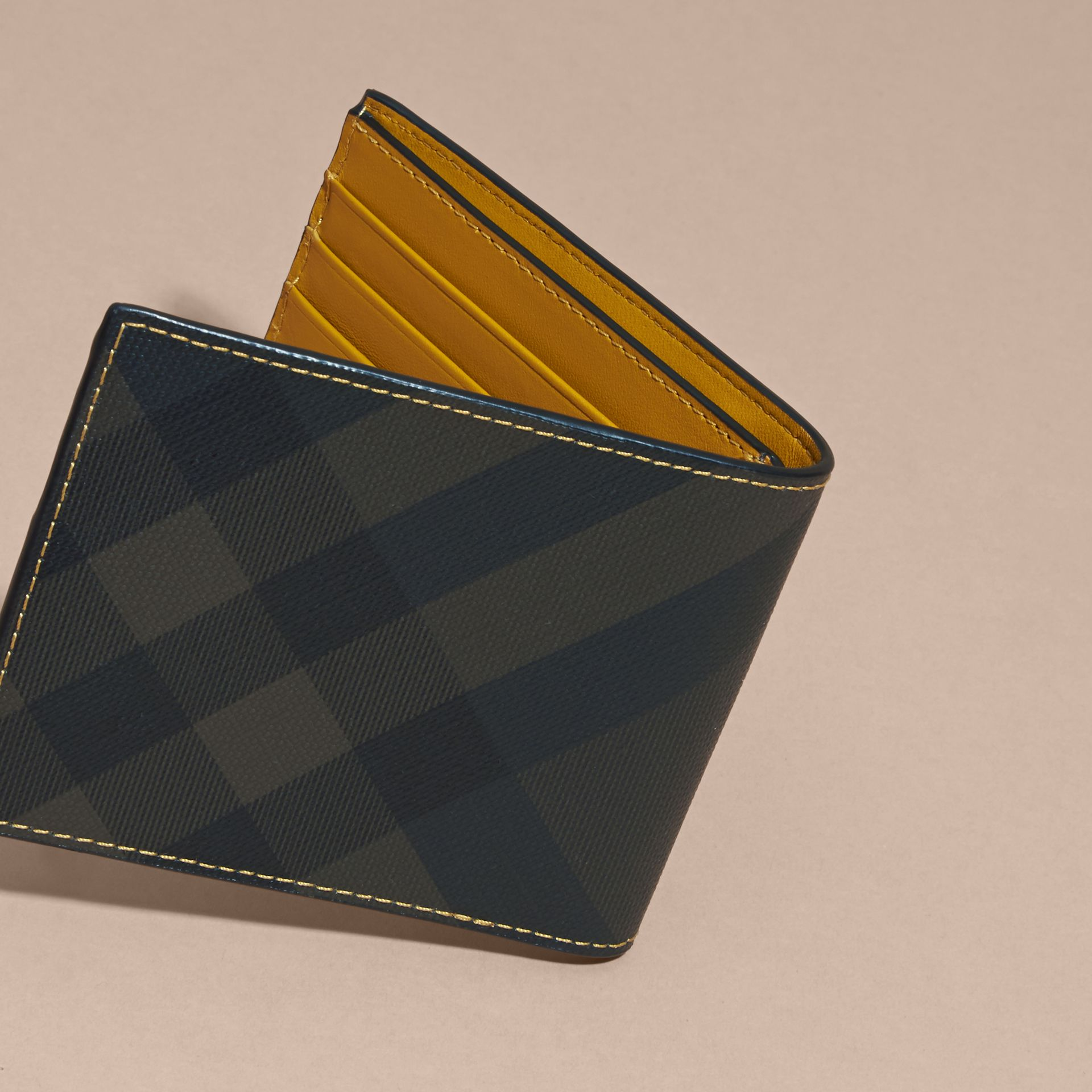 London Check and Leather Bifold Wallet in Larch Yellow - gallery image 4