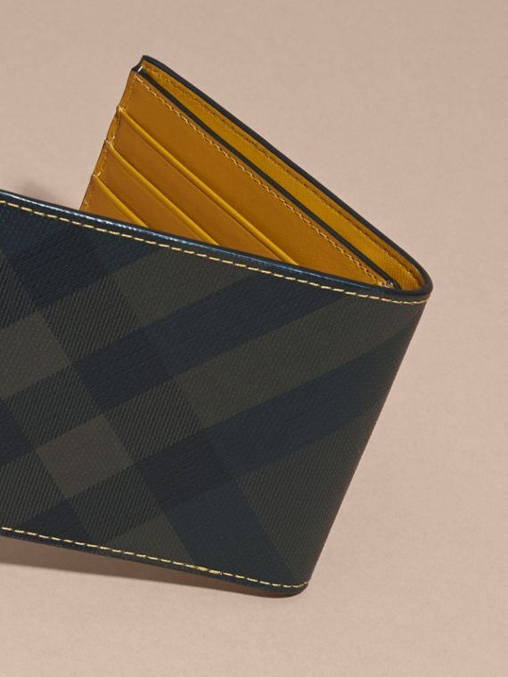 London Check and Leather Bifold Wallet in Larch Yellow - cell image 3