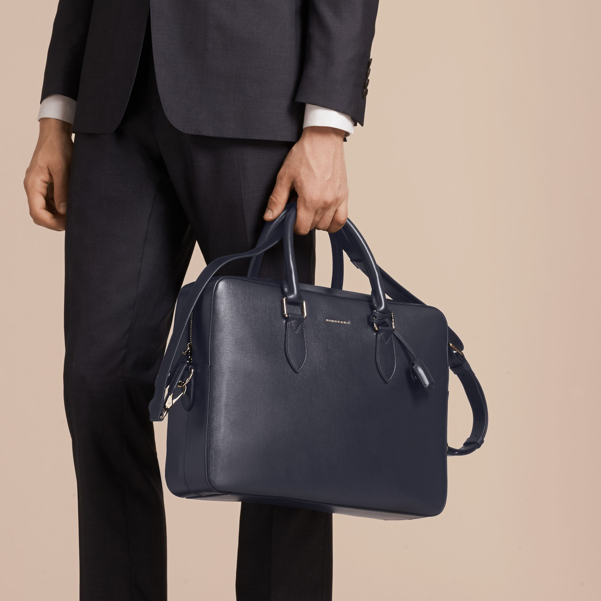 Large London Leather Briefcase in Dark Navy - gallery image 3