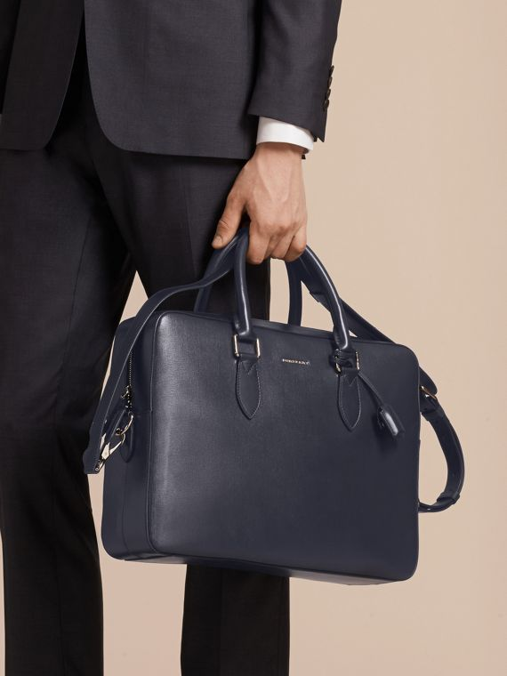 Dark navy Large London Leather Briefcase Dark Navy - cell image 2