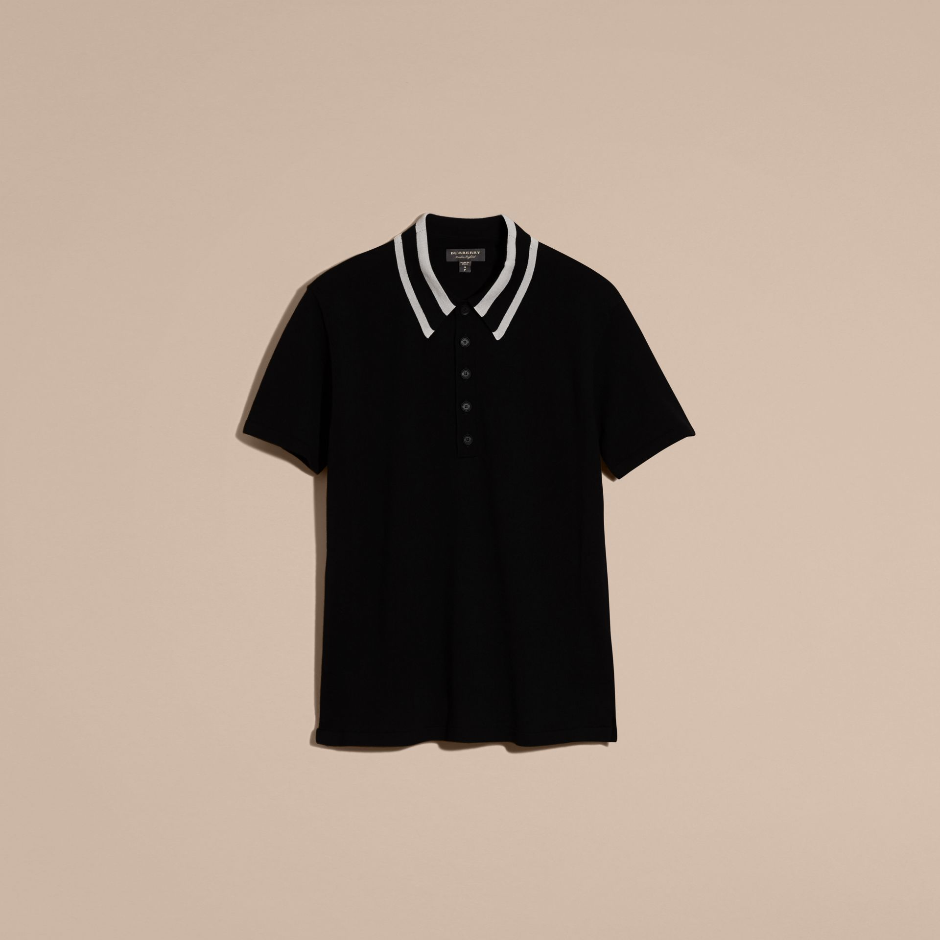 Black/white Striped Collar Wool Blend Polo Shirt - gallery image 4
