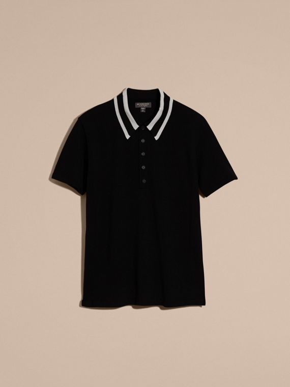 Black/white Striped Collar Wool Blend Polo Shirt - cell image 3
