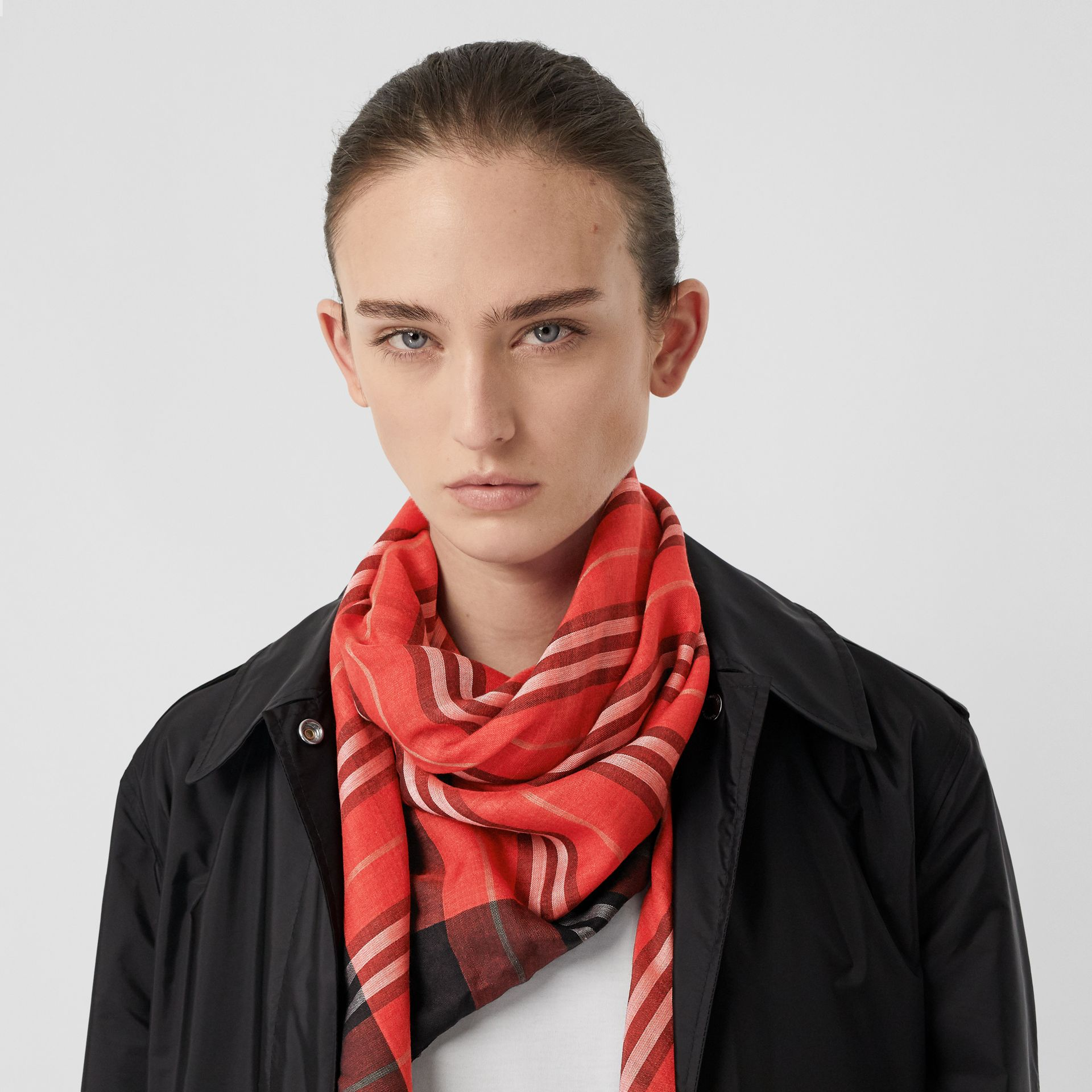 Monogram Icon Stripe Wool Silk Large Square Scarf in Bright Red | Burberry - gallery image 2