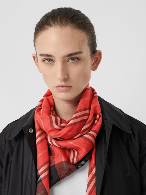 Monogram Icon Stripe Wool Silk Large Square Scarf in Bright Red | Burberry - cell image 2
