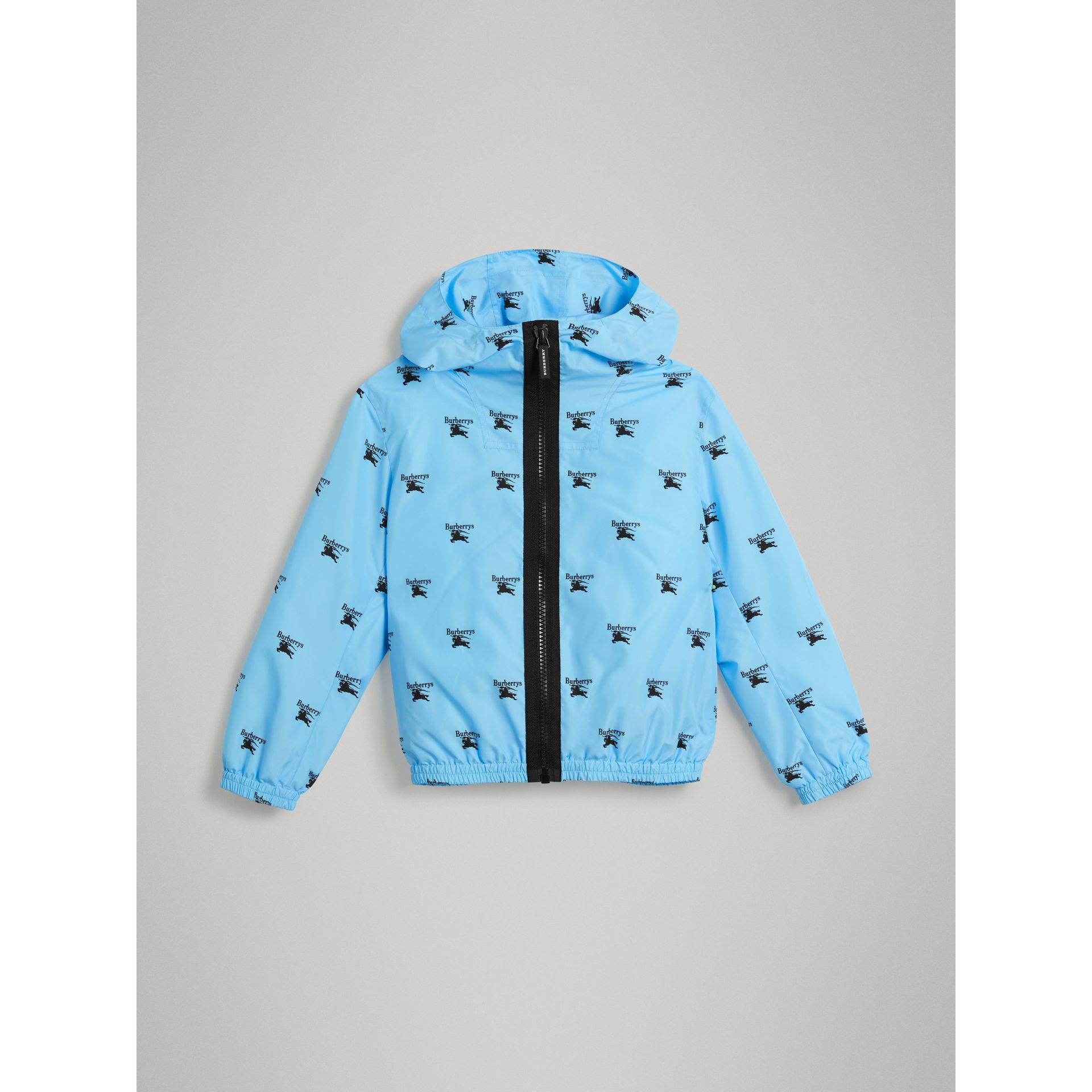 Archive Logo Print Lightweight Hooded Jacket in Sky Blue | Burberry - gallery image 0