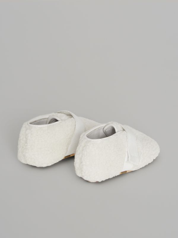 Faux Fur and Vintage Check Booties in Optic White - Children | Burberry - cell image 2