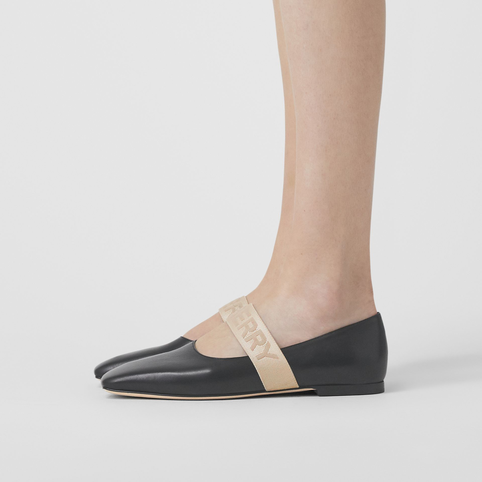 Logo Detail Lambskin Flats in Black - Women | Burberry United Kingdom - gallery image 2