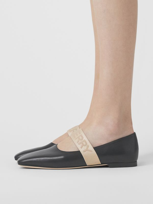 Logo Detail Lambskin Flats in Black - Women | Burberry United Kingdom - cell image 2